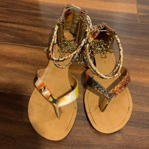 Gold chain and Braided rope sandals